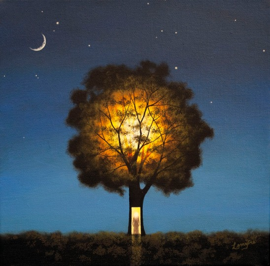surreal oil painting, illuminated tree, illumination, meditation, contemplation, nature, night time
