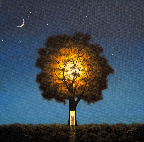 surreal oil painting, illuminated tree, illumination, meditation, contemplation, nature, night time