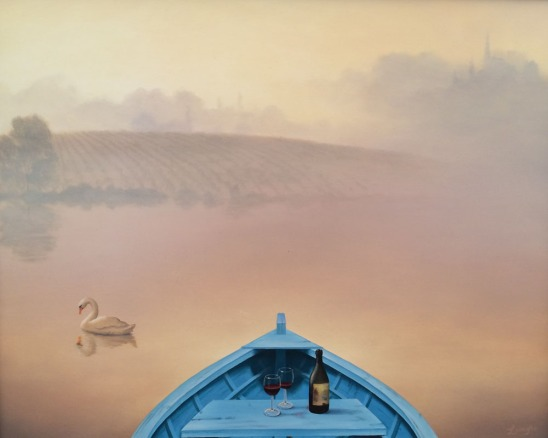 surreal painting, boat, lovers boat ride, wine for two, wine, swan, surreal landscape, surreal boat