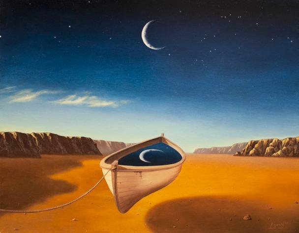 Floating boat in the desert, new beginnings, & moon phases