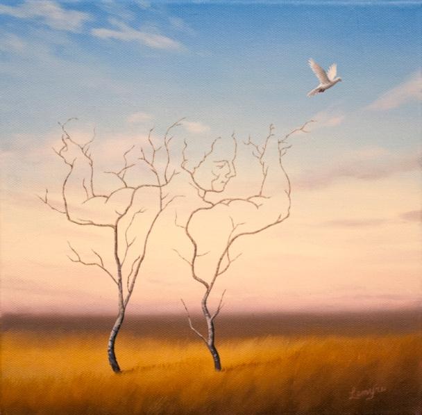 tree figure, surreal painting, surrealism, tree man