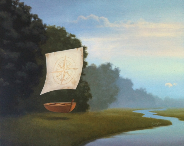 New Direction surreal oil painting, floating boat, compass rose sails, navigation