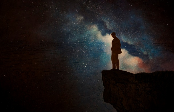 stargazer, surreal night sky, surreal oil painting, surreal art, man stands alone, man in the universe, the collective unconscious